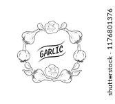 garlic wreath vector outline...   Shutterstock .eps vector #1176801376