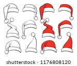 santa red hats with white fur... | Shutterstock .eps vector #1176808120