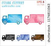 moving company watercolor... | Shutterstock .eps vector #1176811063
