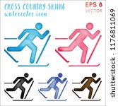 cross country skiing watercolor ... | Shutterstock .eps vector #1176811069