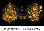 lakshmi and ganesha   hindu...   Shutterstock .eps vector #1176818959