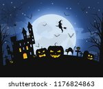 happy halloween night. concept... | Shutterstock .eps vector #1176824863