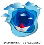 origami paper ship toy swimming ...   Shutterstock .eps vector #1176828559