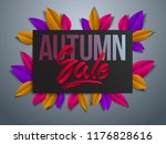 autumn sale flyer template with ... | Shutterstock .eps vector #1176828616