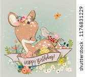 cartoon fawn with flowers | Shutterstock .eps vector #1176831229
