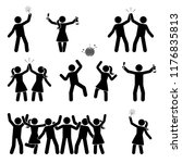 stick figure celebrating people ... | Shutterstock .eps vector #1176835813