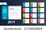 desk calendar 2019 vector. week ... | Shutterstock .eps vector #1176836869
