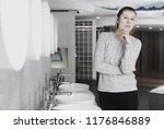 smiling female buyer choosing...   Shutterstock . vector #1176846889