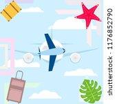 summer travel suitcase aircraft ... | Shutterstock .eps vector #1176852790