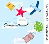 summer travel suitcase aircraft ... | Shutterstock .eps vector #1176852793