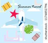 summer travel suitcase aircraft ... | Shutterstock .eps vector #1176852796