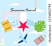 summer travel suitcase aircraft ... | Shutterstock .eps vector #1176852799
