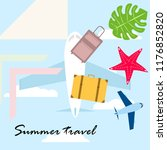 summer travel suitcase aircraft ... | Shutterstock .eps vector #1176852820