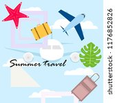 summer travel suitcase aircraft ... | Shutterstock .eps vector #1176852826