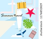 summer travel suitcase aircraft ... | Shutterstock .eps vector #1176852829