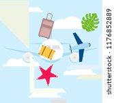 summer travel suitcase aircraft ... | Shutterstock .eps vector #1176852889