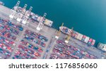 aerial view container ship from ... | Shutterstock . vector #1176856060