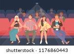 young men and women sitting in... | Shutterstock .eps vector #1176860443