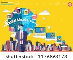 cellphone in right hand... | Shutterstock .eps vector #1176863173