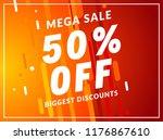mega sale 50 percent off banner ... | Shutterstock .eps vector #1176867610
