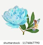 a picturesque peony flower.... | Shutterstock .eps vector #1176867790