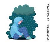 sad  unhappy teenage girl ... | Shutterstock .eps vector #1176868969