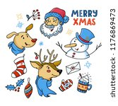 doodle style set of cute... | Shutterstock .eps vector #1176869473