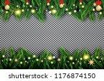 fir branch with neon lights ... | Shutterstock .eps vector #1176874150