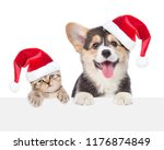 Stock photo funny kitten and corgi puppy in red christmas hats peeking over empty white board isolated on 1176874849