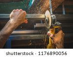 photo of person cutting holders ... | Shutterstock . vector #1176890056