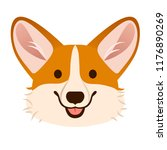 Stock vector corgi dog cute cartoon vector portrait pembroke welsh corgi puppy dog face smiling with tongue 1176890269