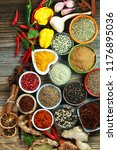 spices and herbs on table. food ... | Shutterstock . vector #1176895036