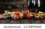 italian antipasti wine snacks... | Shutterstock . vector #1176895060