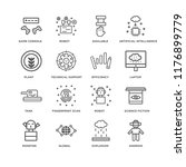 set of 16 simple line icons... | Shutterstock .eps vector #1176899779
