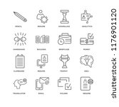 set of 16 simple line icons... | Shutterstock .eps vector #1176901120