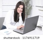female assistant working on... | Shutterstock . vector #1176911719
