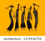 african women with jugs  ornate ... | Shutterstock .eps vector #1176916753