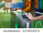 close up hand with key card at... | Shutterstock . vector #1176919273