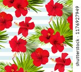 hibiscus flower vector seamless ... | Shutterstock .eps vector #1176927949