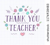 thank you teacher. paper in a... | Shutterstock .eps vector #1176928483