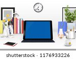 3d rendering of workspace with... | Shutterstock . vector #1176933226