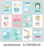 set of baby shower cards with... | Shutterstock .eps vector #1176938110
