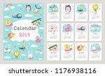 calendar 2019 with cute forest...   Shutterstock .eps vector #1176938116