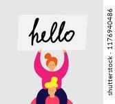 smiling girl sits on shoulders... | Shutterstock .eps vector #1176940486