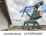 giant  green cargo crane on... | Shutterstock . vector #1176942640