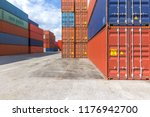 red and blue containers stacked ... | Shutterstock . vector #1176942700