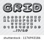 alphabet grid design. typeface... | Shutterstock .eps vector #1176943186