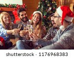 group of friends sitting on the ... | Shutterstock . vector #1176968383