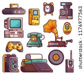 retro tech devices icons.... | Shutterstock .eps vector #1176977563