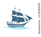 blue tall ships or sailing...   Shutterstock .eps vector #1176982450